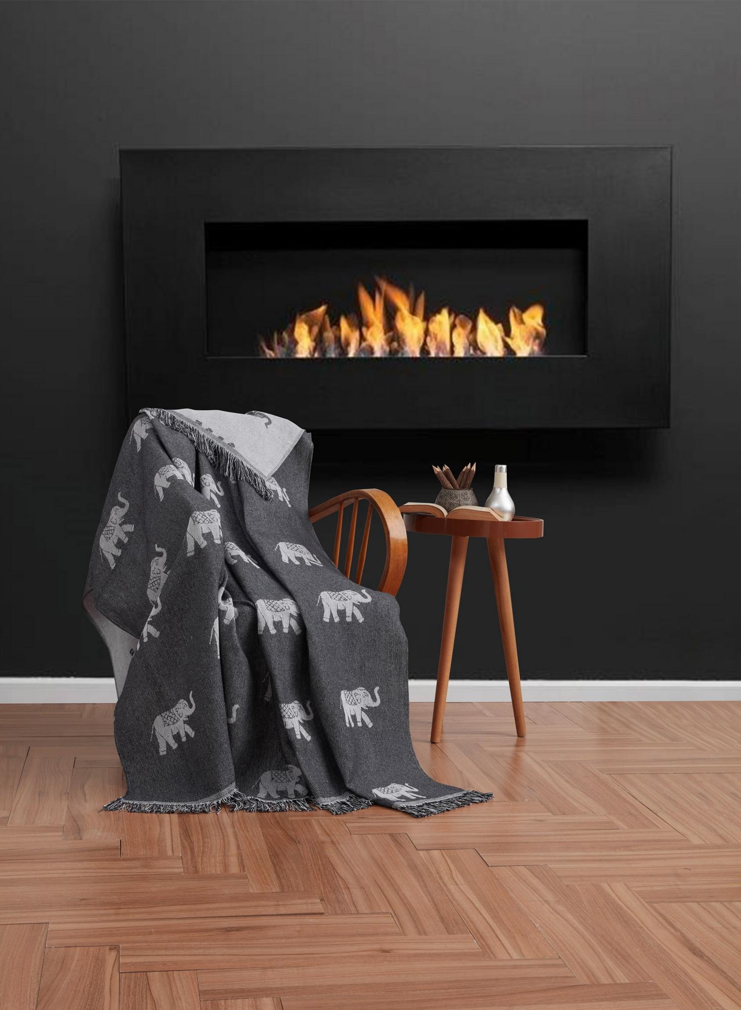 Cuvertura canapea din bumbac, Fil Alb / Negru, 170 x 220 cm