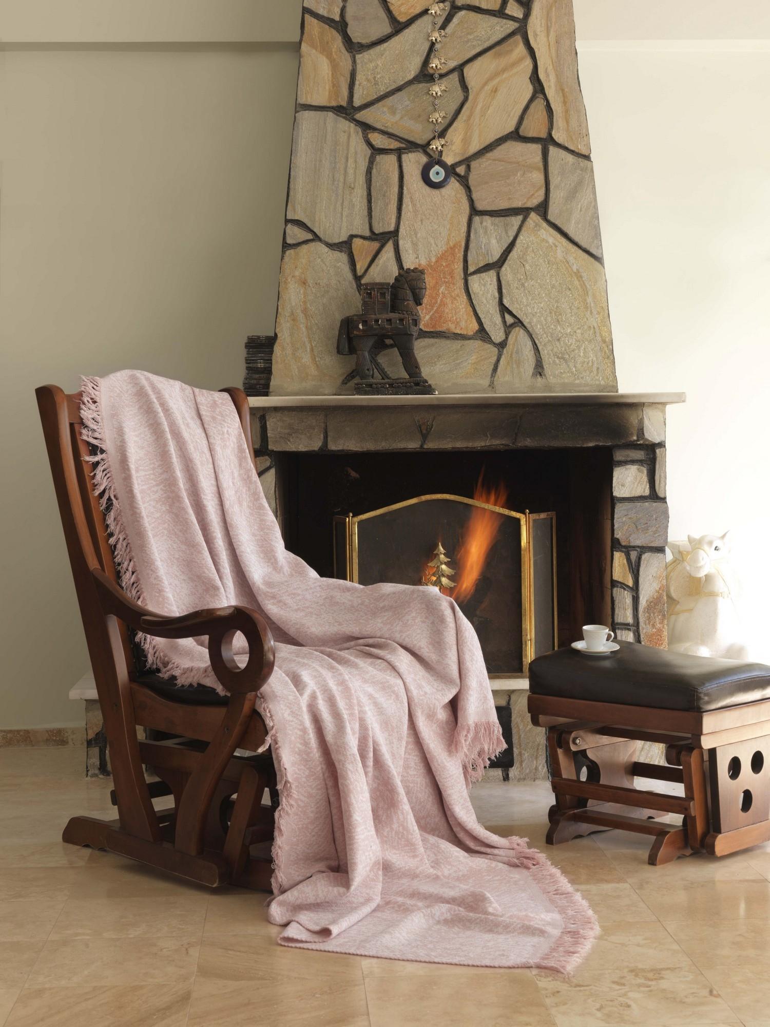 Cuvertura canapea din bumbac, Linen Roz / Alb, 170 x 220 cm