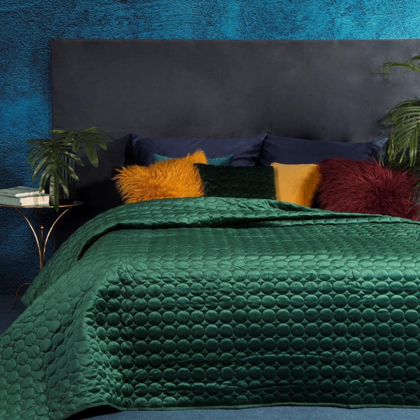 Cuvertura Lilian Velvet Verde inchis, 170 x 210 cm imagine