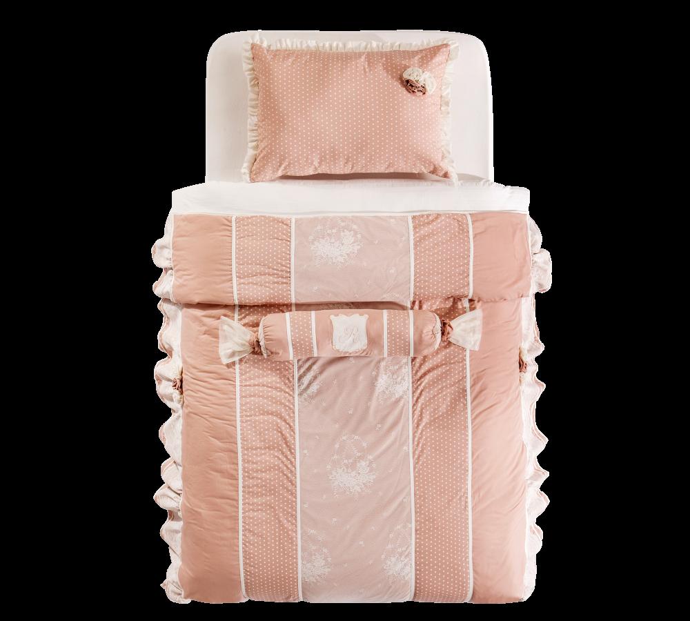 Set cuvertura pat copii si 1 perna decorativa Dream Pink
