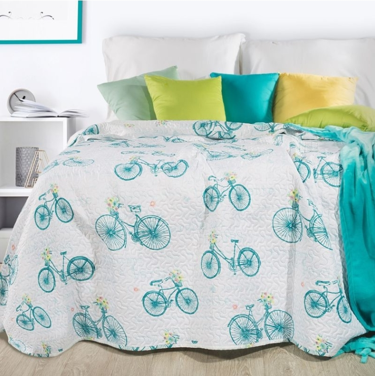Cuvertura pat copii Rower White / Turquoise 170 x 210 cm