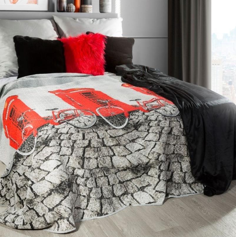 Cuvertura pat copii Ville Grey / Red 170 x 210 cm
