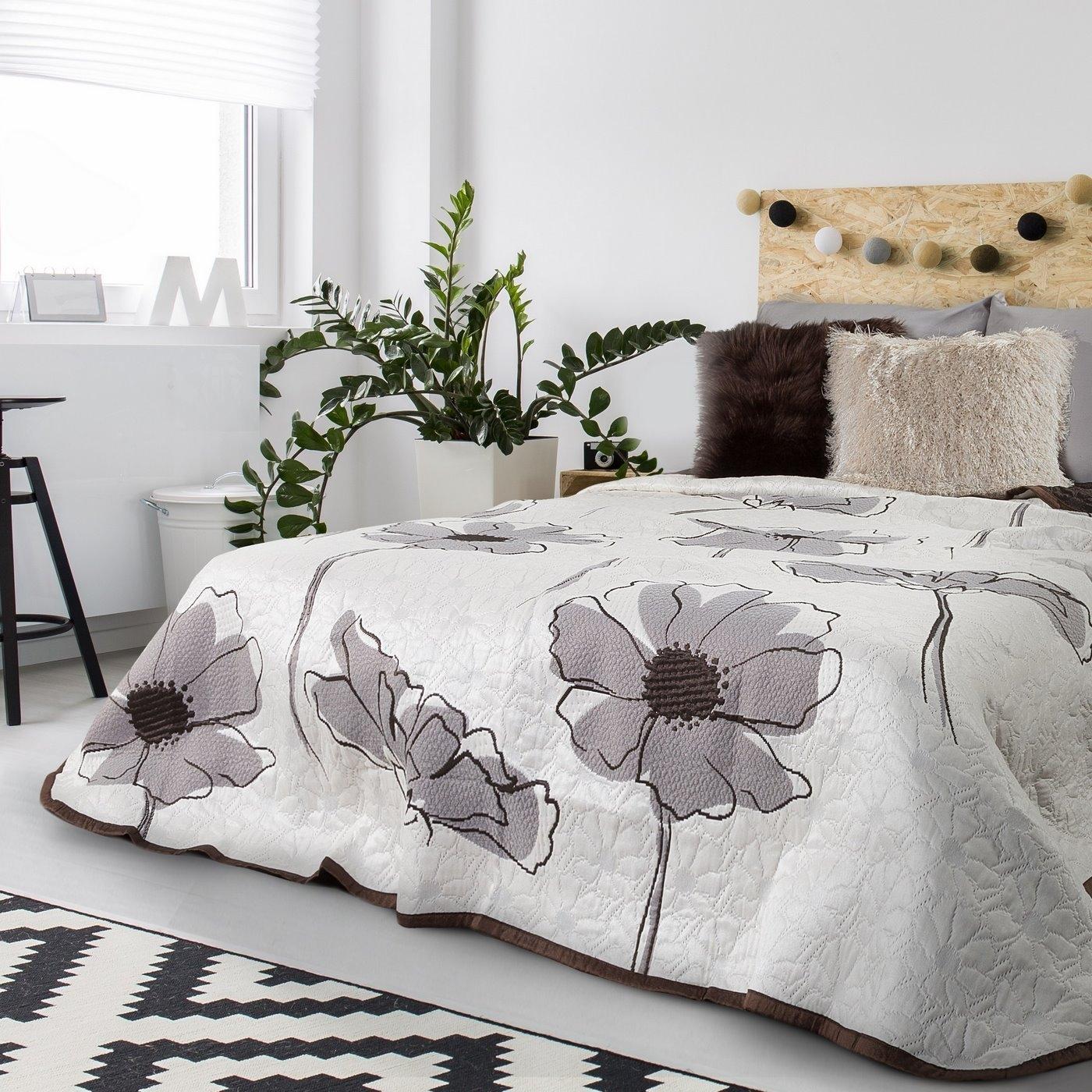Cuvertura reversibila Elva Cream / Brown 240 x 260 cm