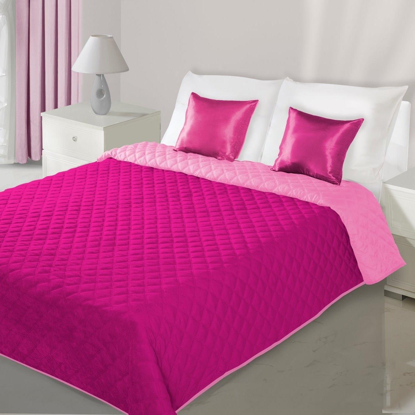 Cuvertura reversibila Evita Dark Pink / Light Pink, 220 x 240 cm