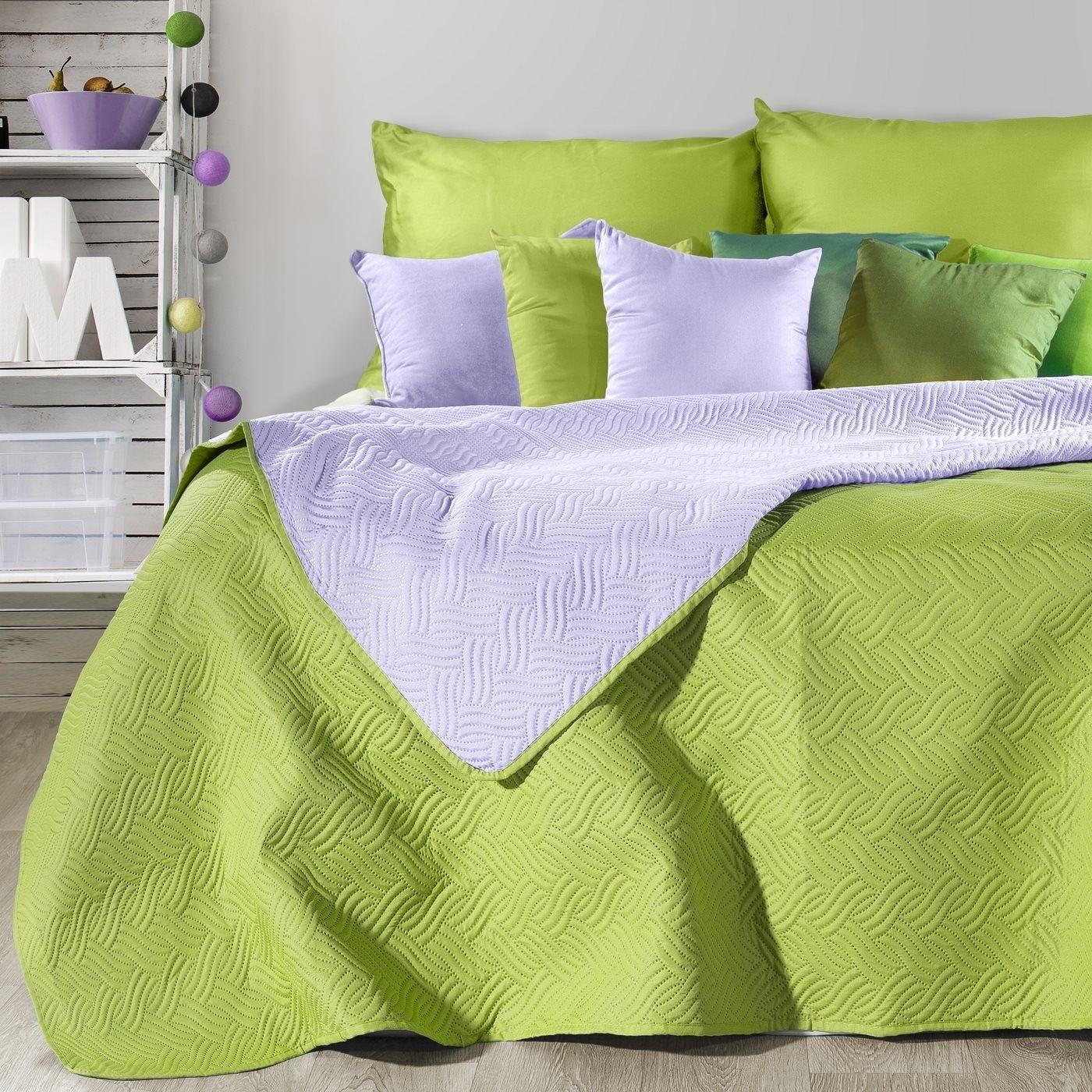 Cuvertura reversibila Fala Light Green / Lila 220 x 240 cm