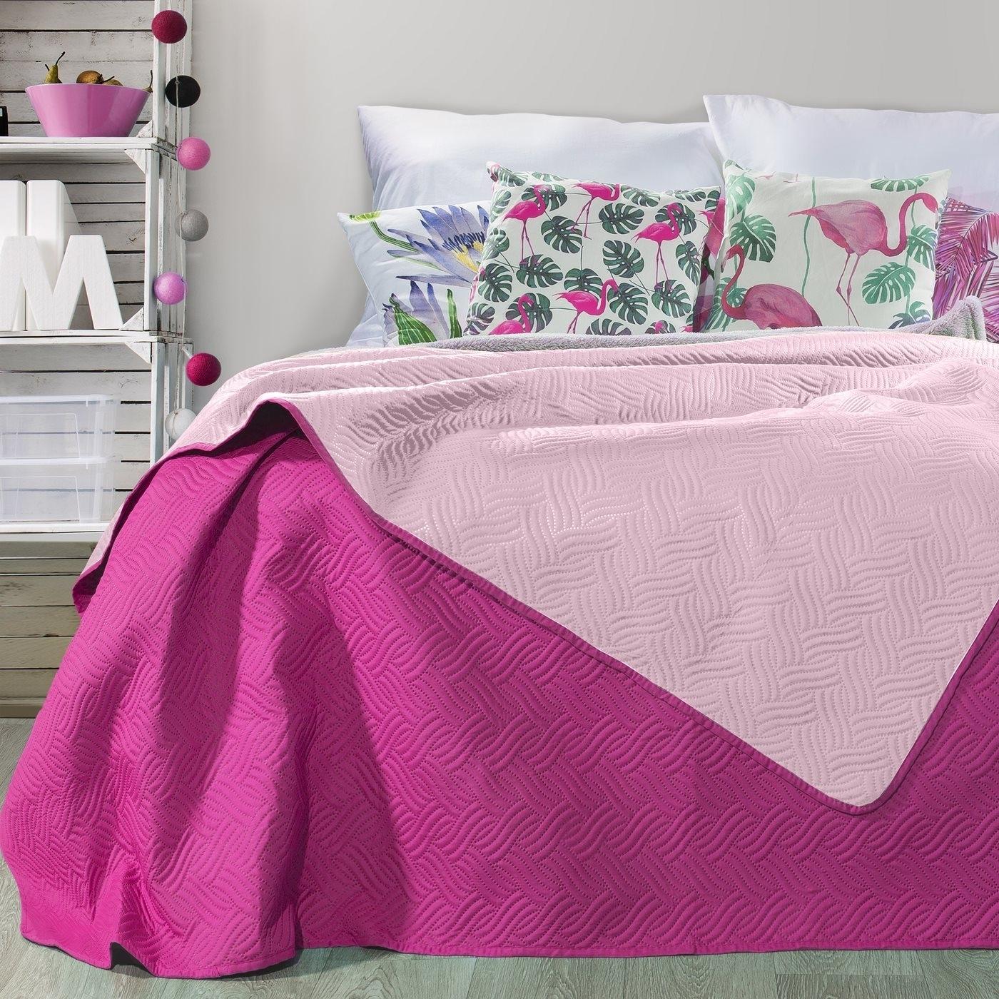 Cuvertura reversibila Fala Light Pink / Purple 220 x 240 cm