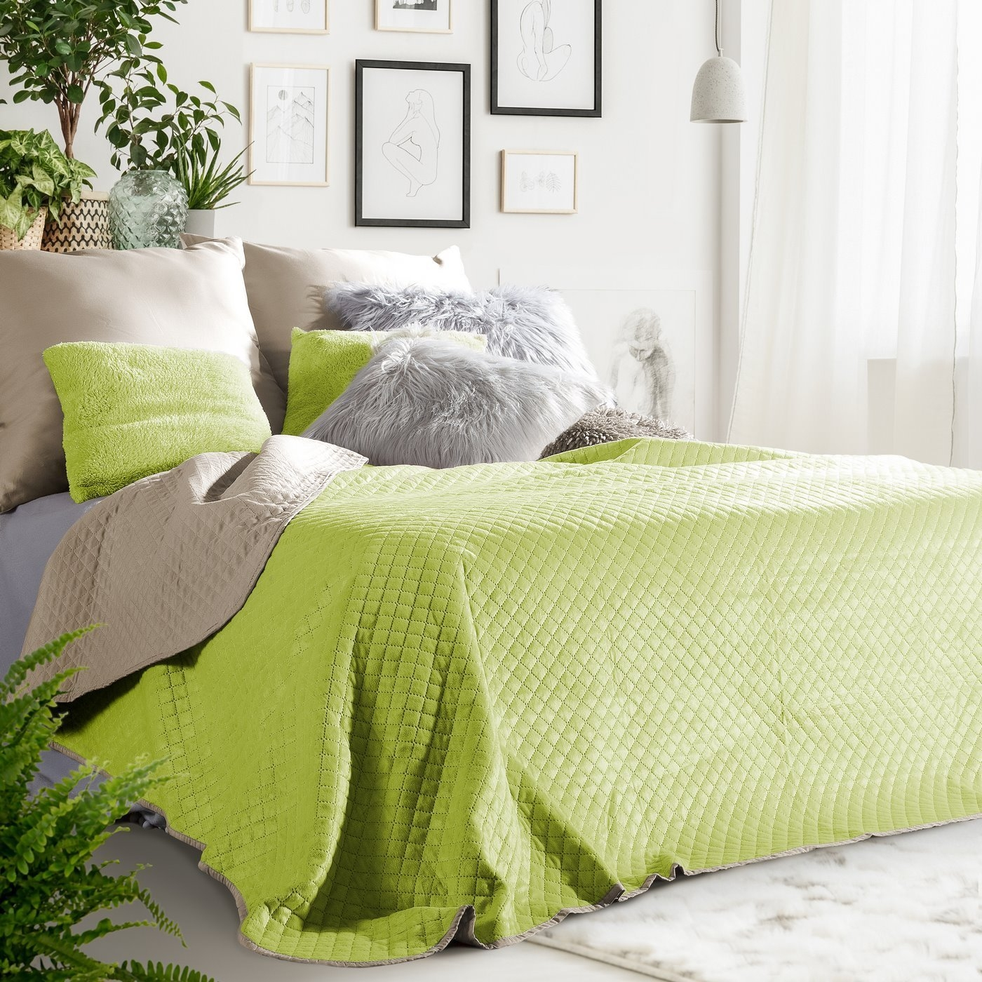 Cuvertura reversibila Filip Beige / Light Green, 220 x 240 cm