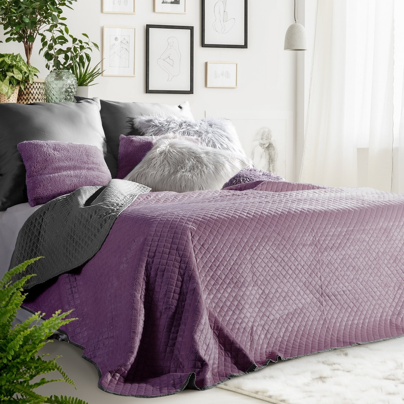 Cuvertura reversibila Filip Purple / Dark Grey