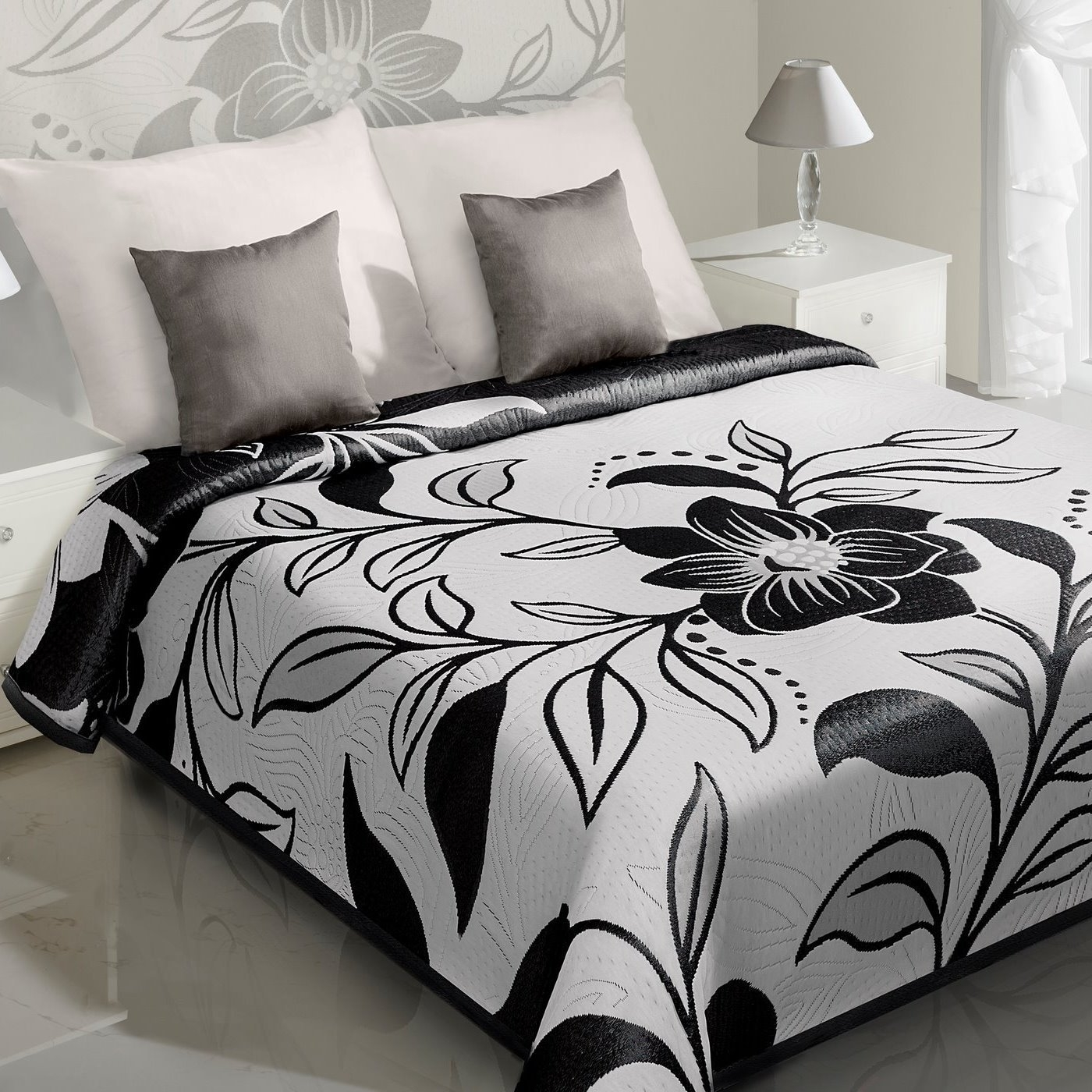 Cuvertura reversibila Lovetta Cream / Black 170 x 210 cm