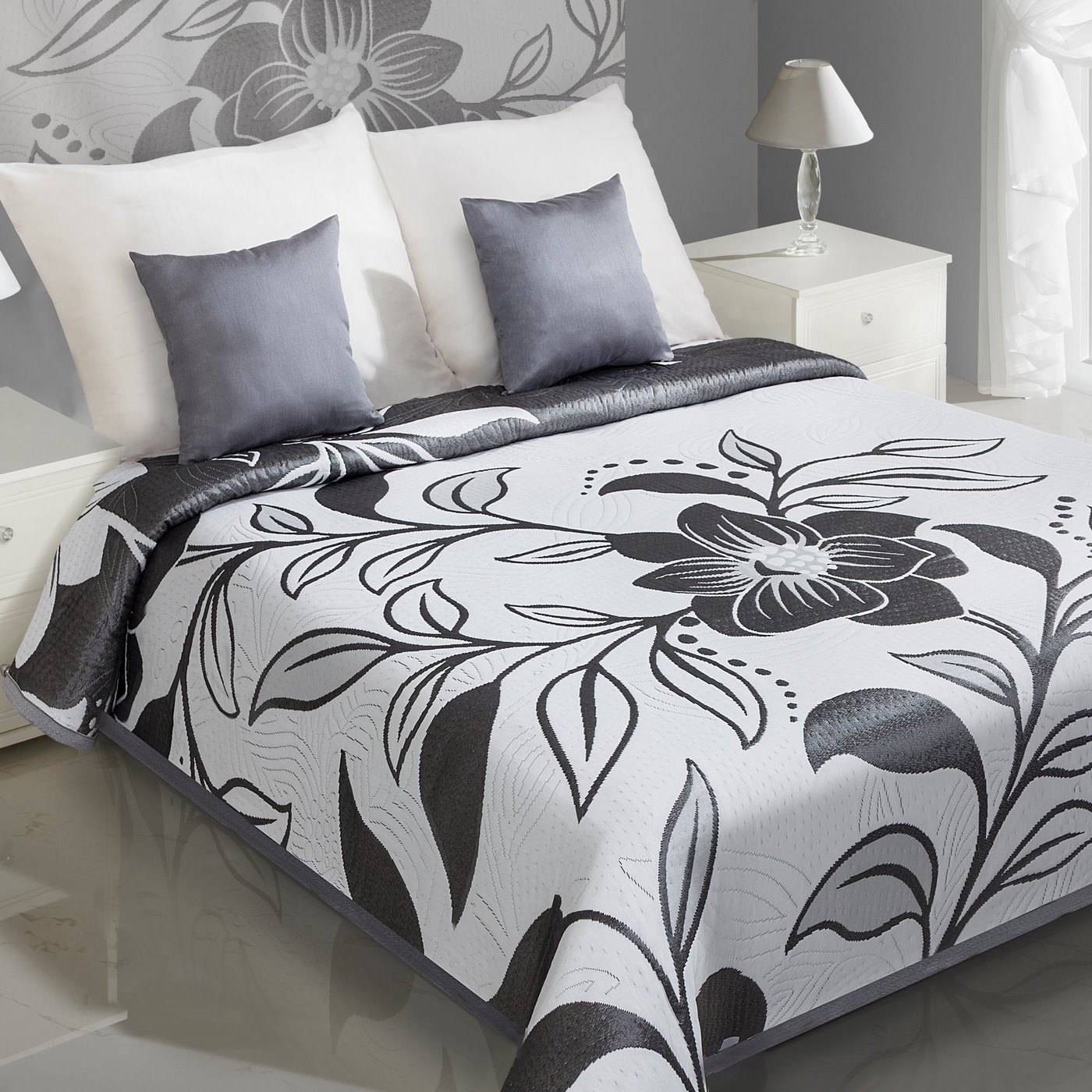 Cuvertura reversibila Lovetta White / Grey 170 x 210 cm