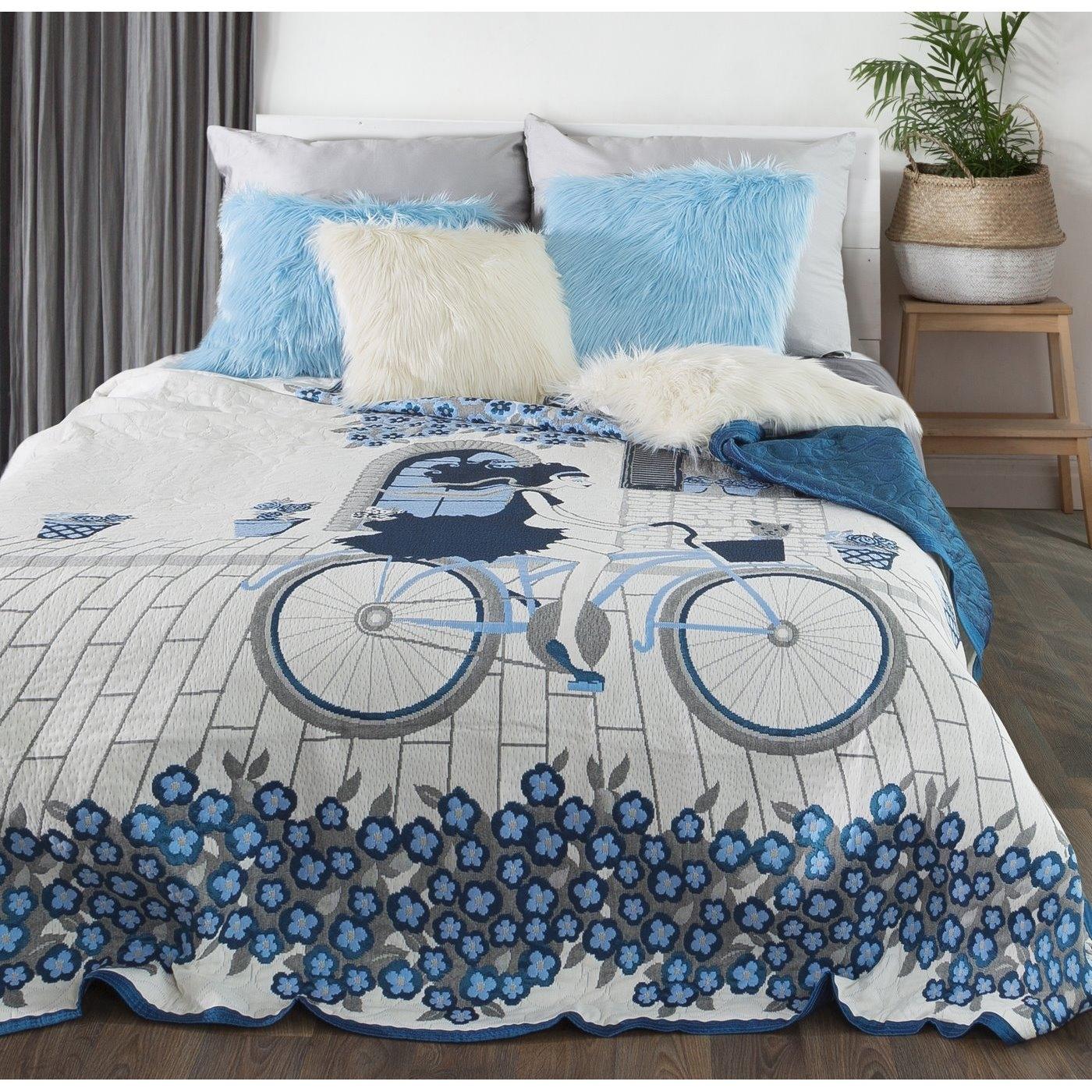 Cuvertura reversibila pat copii Girl Cream / Blue 220 x 240 cm