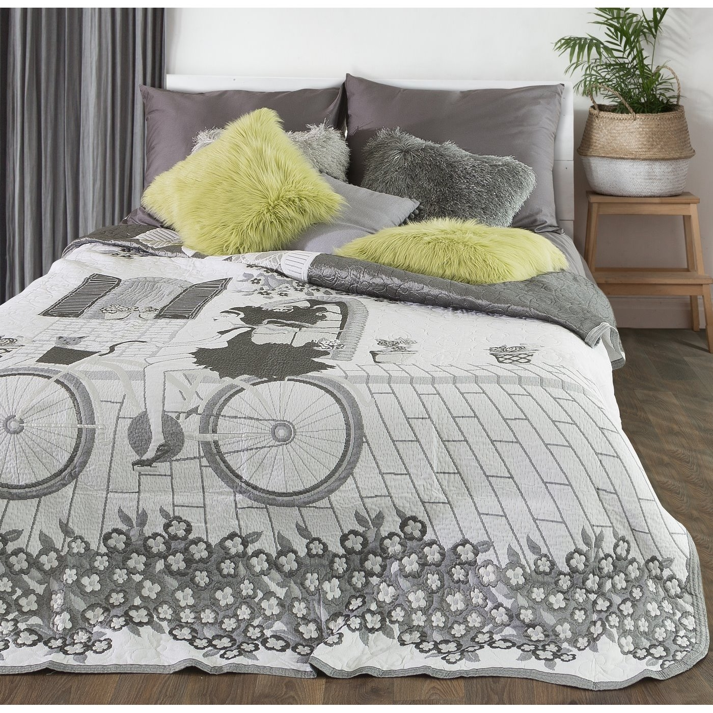 Cuvertura reversibila pat copii Girl White / Grey 220 x 240 cm