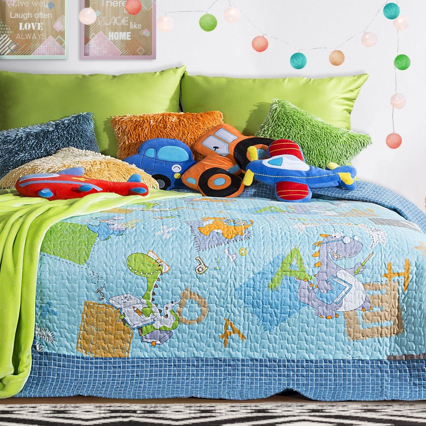 Cuvertura reversibila pat copii Letters Multicolour, 170 x 210 cm