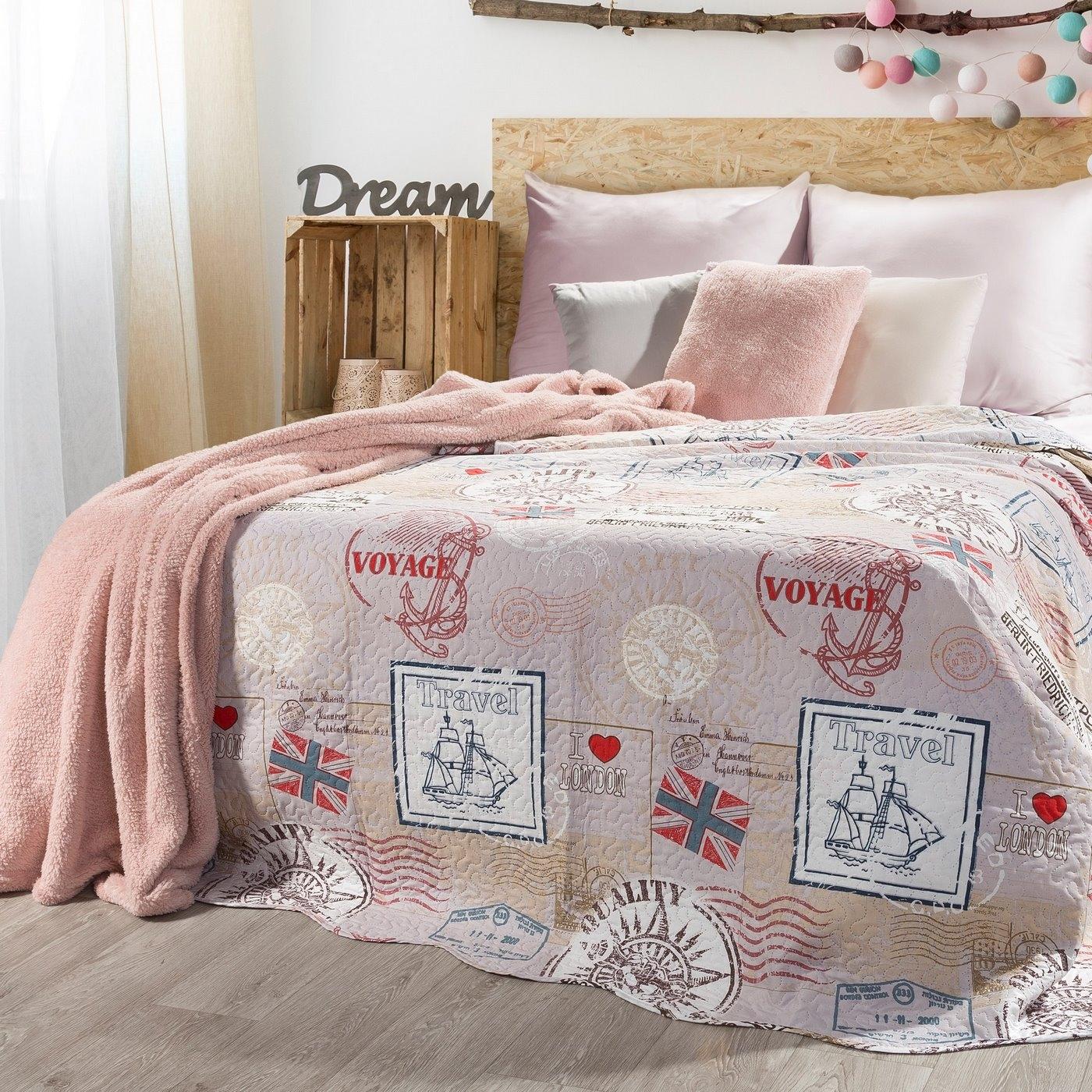 Cuvertura reversibila pat copii London Multicolour, 170 x 210 cm