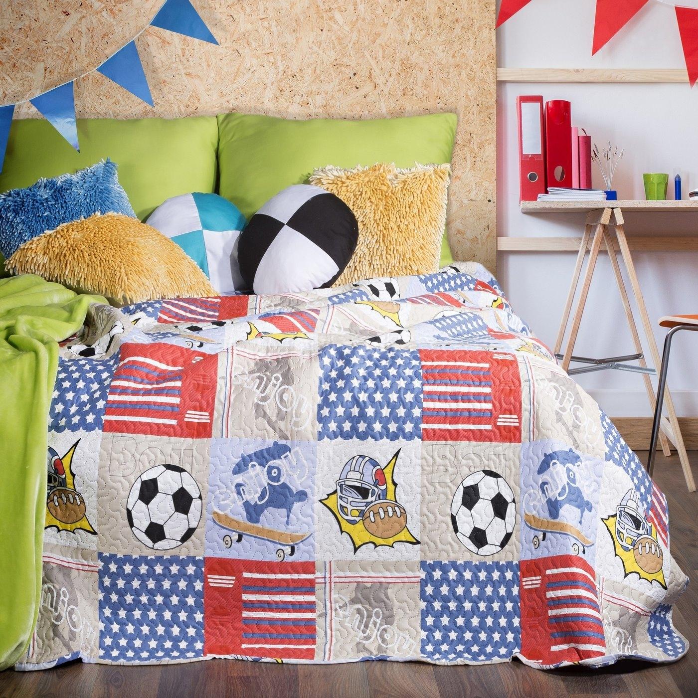 Cuvertura reversibila pat copii Magnus Multicolour, 170 x 210 cm