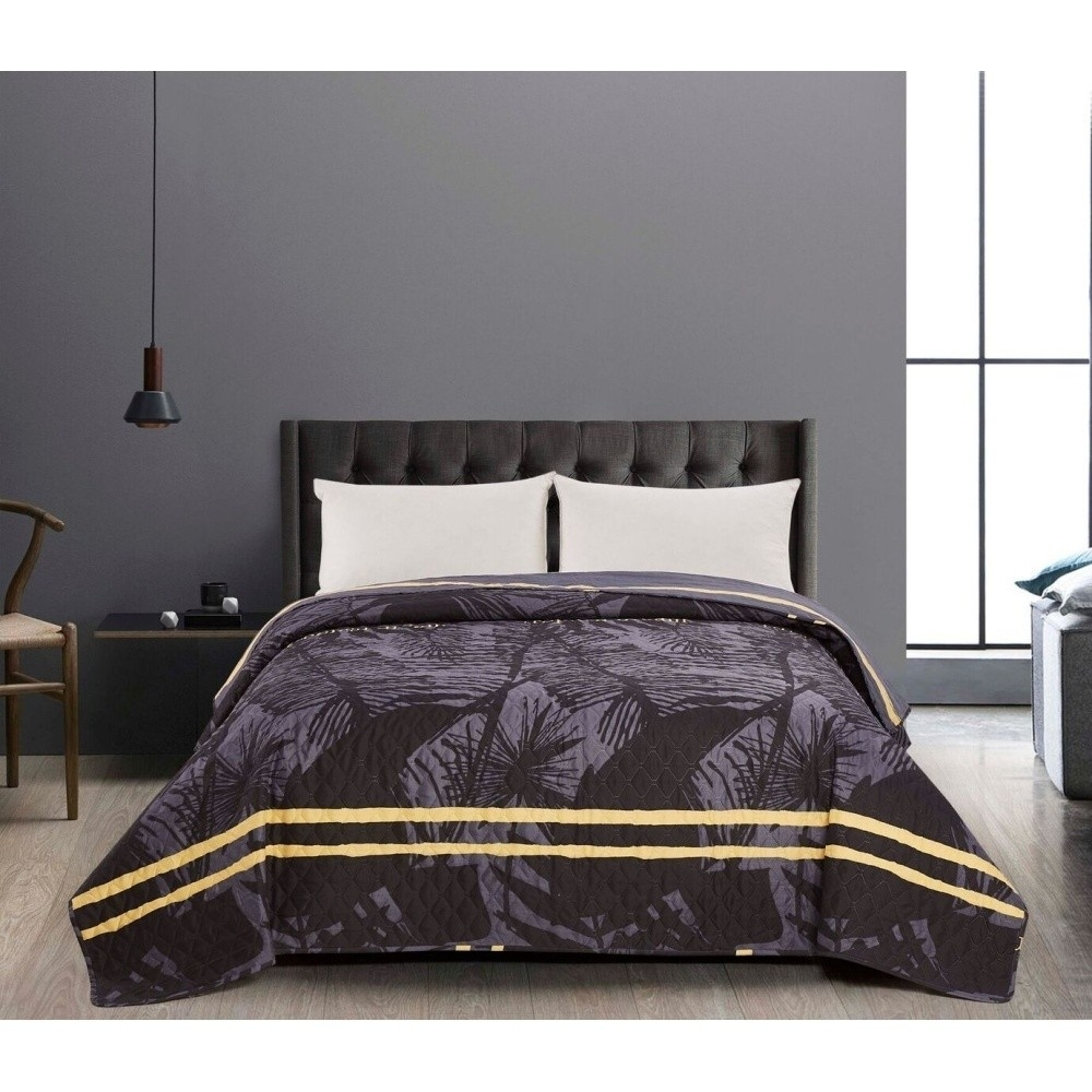 Cuvertura reversibila Tropical Grey / Black-200 x 220 cm