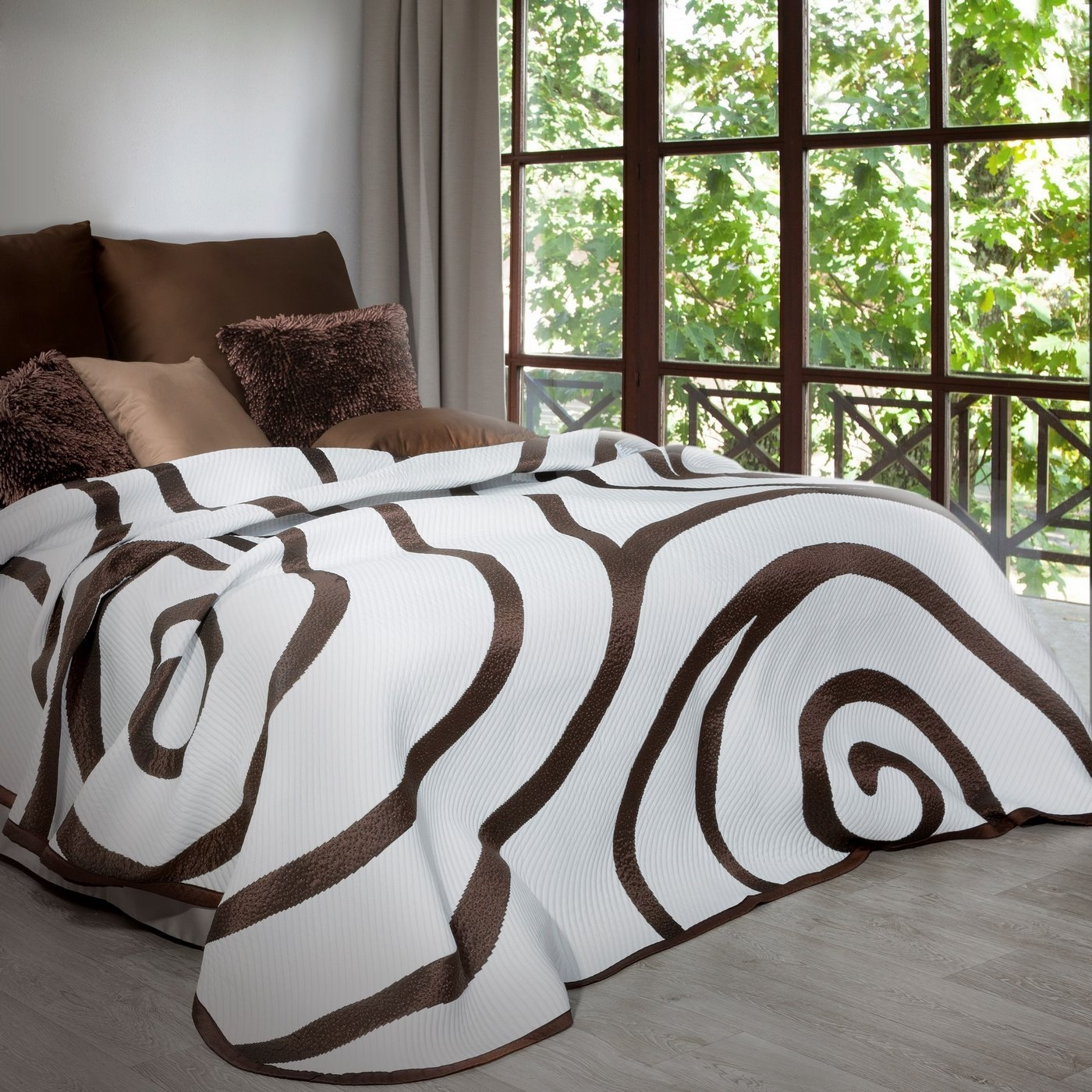 Cuvertura reversibila Victor White / Brown, 170 x 210 cm