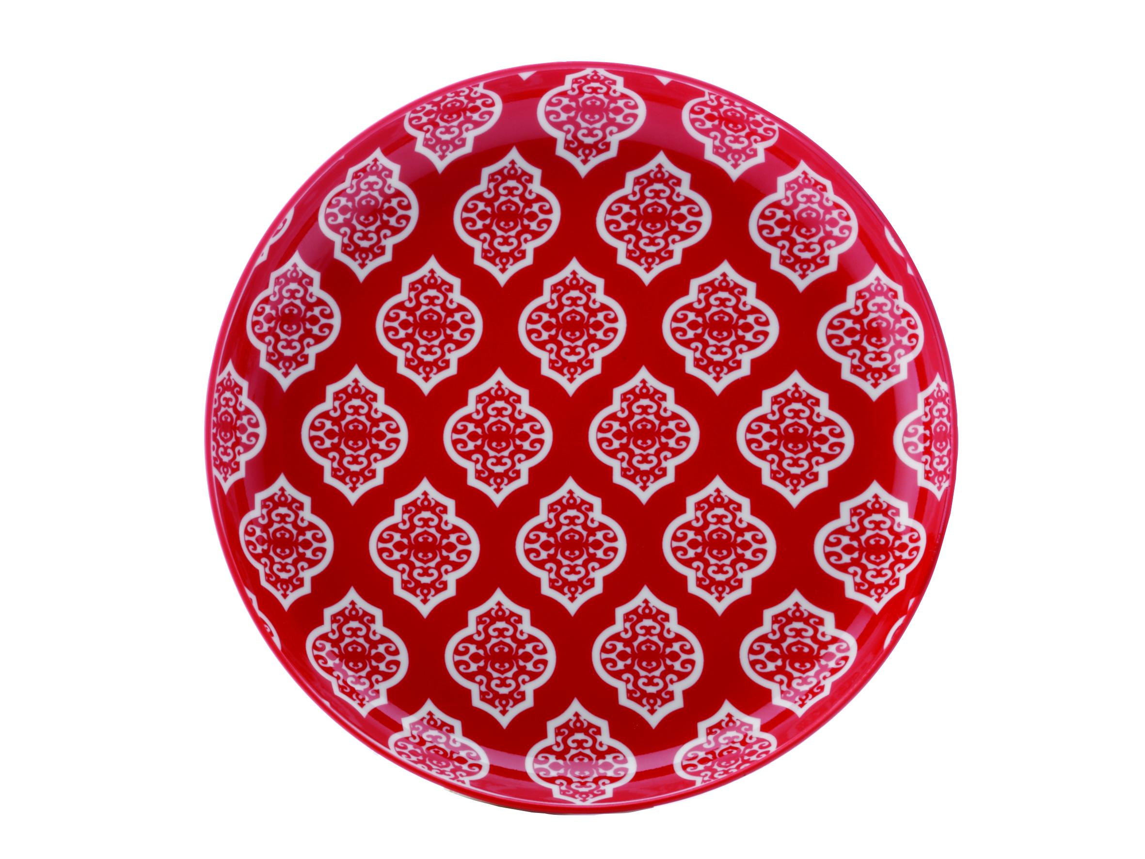 Set 4 Farfurii Red Circ  Alcazar  18 5 Cm