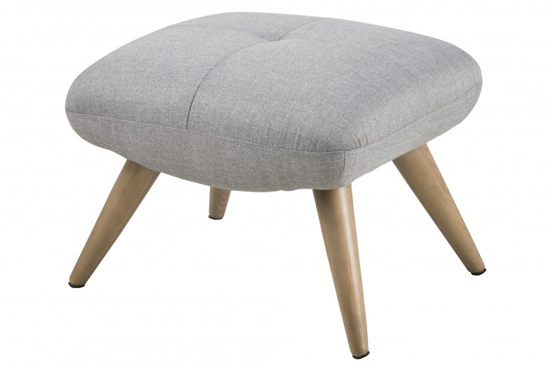Taburet tapitat cu stofa, cu picioare din lemn Balfour Grey, l48xA57xH42 cm