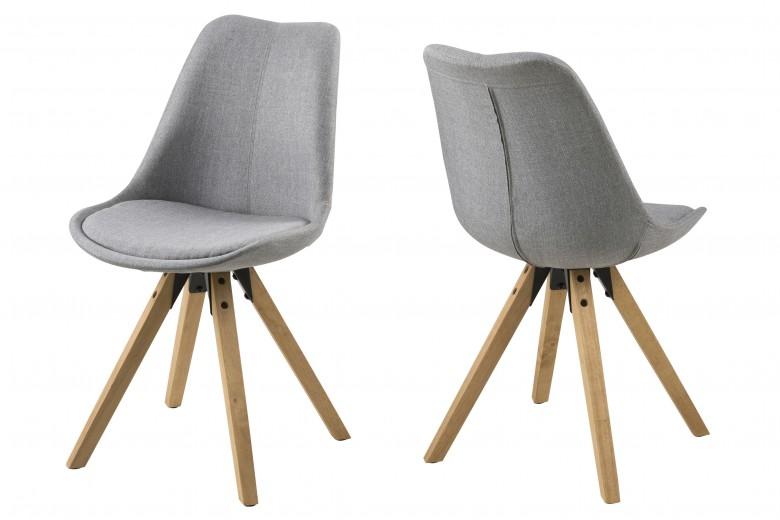 Set 2 scaune tapitate cu stofa Dima Grey/Oak