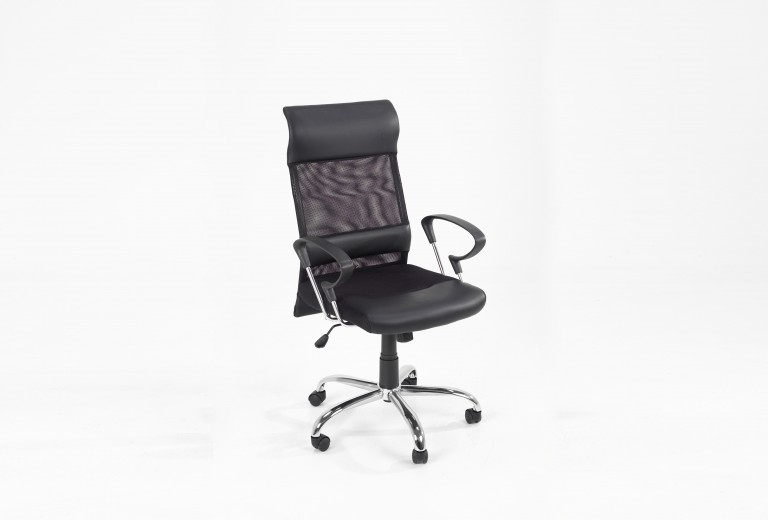 Scaun de birou ergonomic, tapitat cu piele ecologica si stofa Rosenheim Black, l65xA62xH121 cm