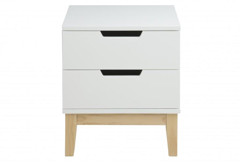 Noptiera din MDF si lemn, cu 2 sertare Boca White / Nature, l40xA40xH45 cm