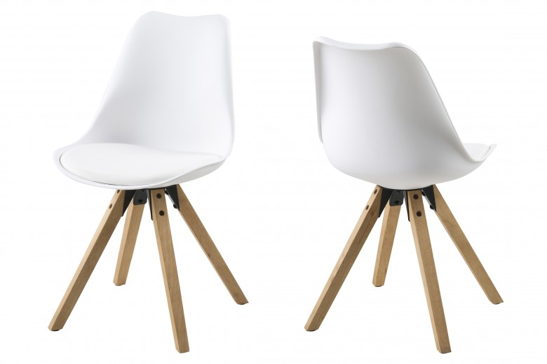 Set 2 scaune tapitate cu piele ecologica, cu picioare din lemn Dima White / Oak, l48,5xA55xH85 cm