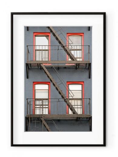 Tablou Façade de Briques New York Aluminium Noir