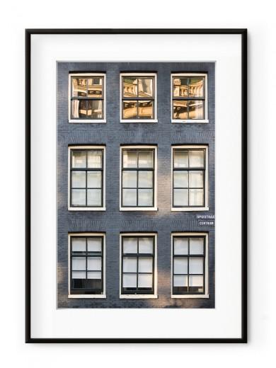 Tablou Façade de Briques Amsterdam Aluminium Noir