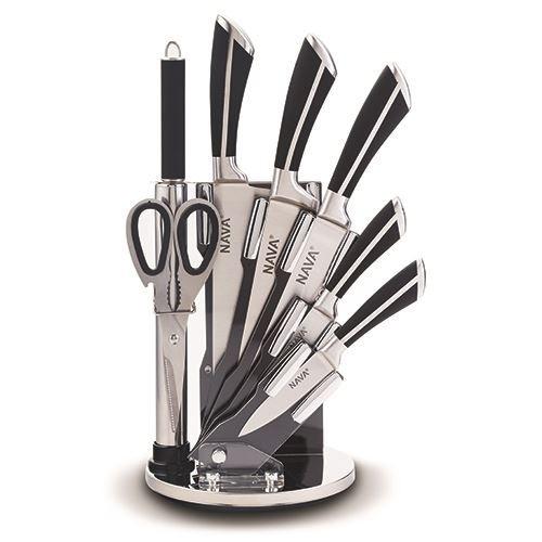 Set 5 cutite cu suport si accesorii Steel Negru