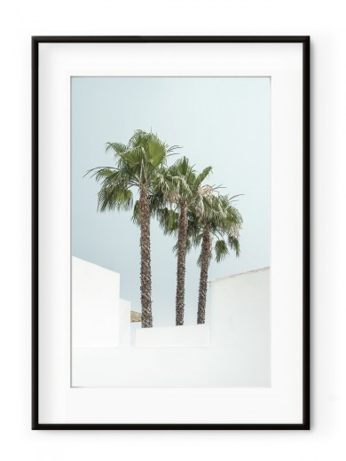 Tablou Minimal Palm Trees Aluminium Noir