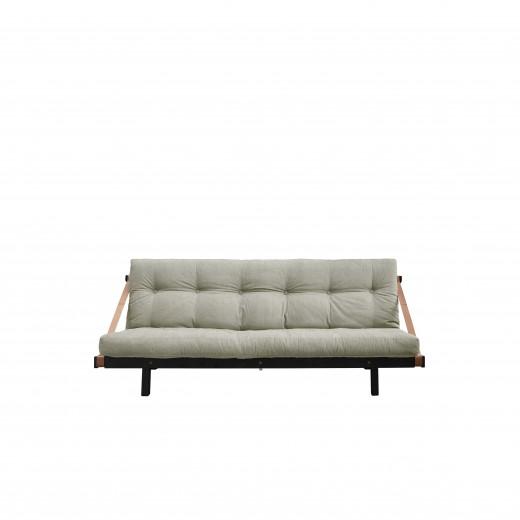 Canapea Extensibila 3 locuri, stofa si cadru lemn de pin, Jump Black Linen, l202xA117xH75 cm