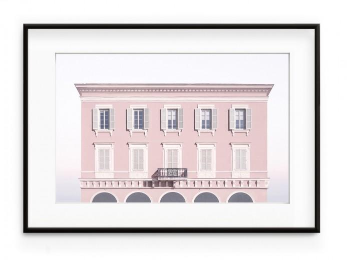Tablou Pink House Aluminium Noir