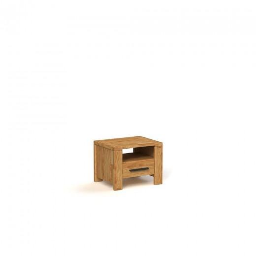 Noptiera din lemn masiv de stejar Cubic natural, l54xA40xH39 cm