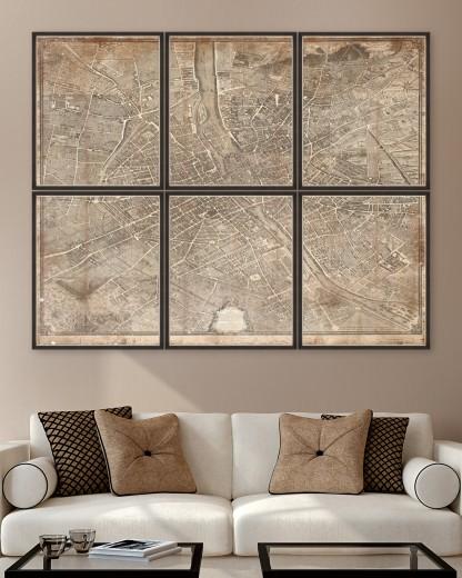 Tablou 6 piese Framed Art 1739 Plan de Paris Map