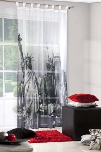 Perdea Newyork 140X250 Alb/Gri Închis 1 buc 1