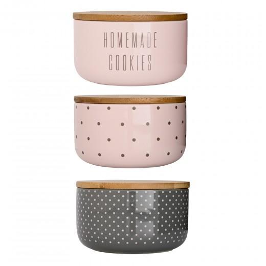 Set 3 Recipiente pentru depozitare Jar Multi-color, Ceramica, Ø14xH9 cm