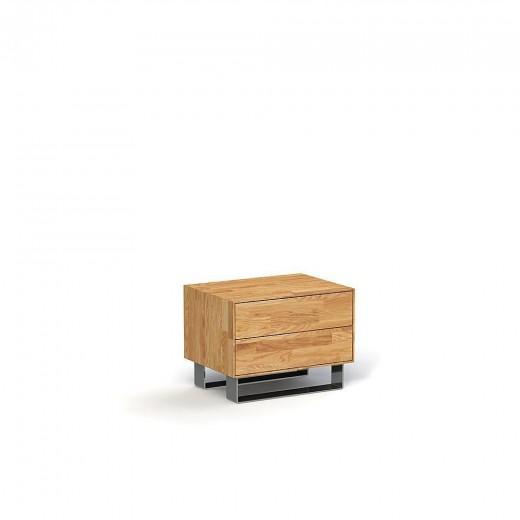 Noptiera din lemn masiv de stejar Steel natural, l54xA40xH40 cm