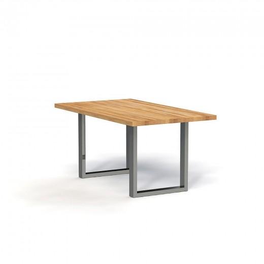 Masa din lemn masiv de stejar natural Steel, L120xl90xh77 cm