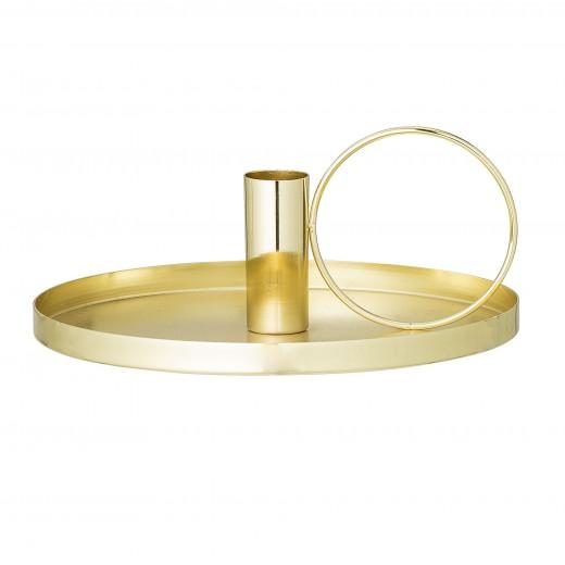 Suport lumanari, Gold, Ø19xH8 cm