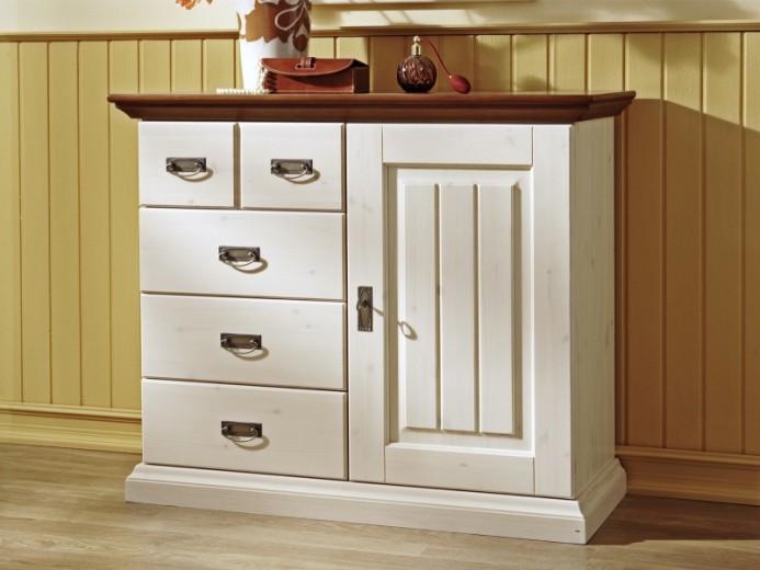 Comoda din lemn de pin, cu 1 usa si cu 4 sertare, Malta White / Antique, l109,7xA44,5xH91,1 cm