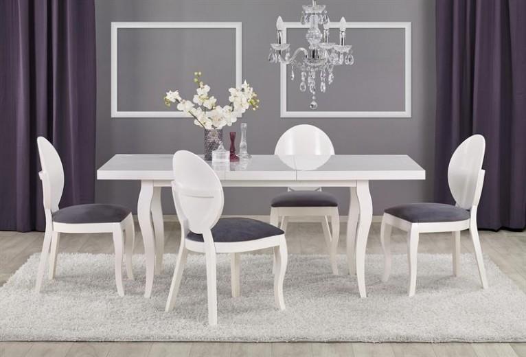 Set masa extensibila din lemn de fag si MDF Mozart Alb + 4 scaune tapitate cu stofa Verdi Alb / Gri, L140-180xl80xH75 cm