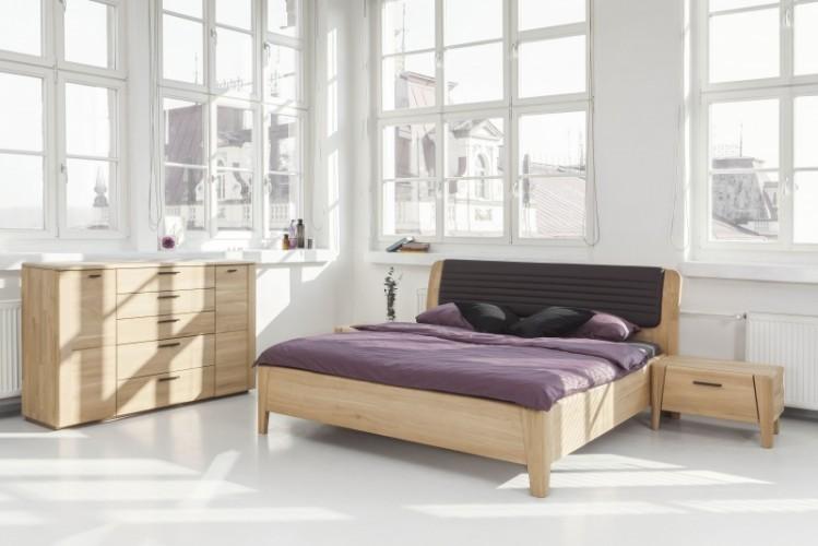 Comoda din lemn de stejar, cu 2 usi si cu 5 sertare  Keros, l160xA45,1xH98,5 cm