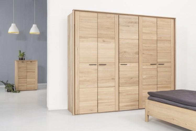 Dulap cu 5 usi din lemn masiv de stejar Keros, l258,1xA62,7xH220 cm