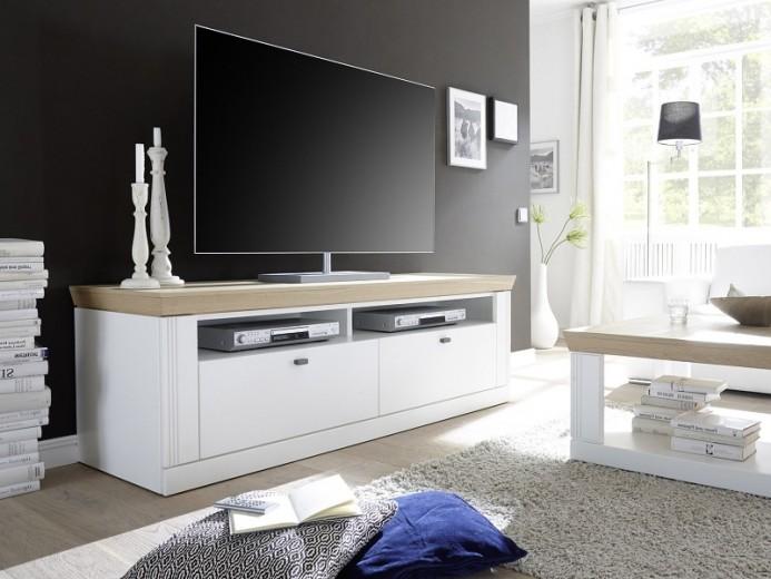 Comoda TV din furnir si MDF, cu 2 sertare, Bolero White / Oak, l143,3xA57,1xH58,2 cm