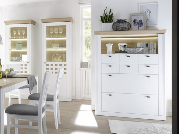 """Cabinet din furnir si MDF, cu 4 sertare """"Bolero Led"""" White / Oak, l100,8xA44,3xH156,3 cm"""