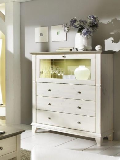 Cabinet din lemn de pin, cu 1 usa si cu 3 sertare Georgia Grey, l118,20xA48xH134,40 cm