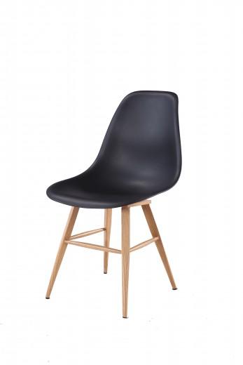 Scaun din plastic cu picioare de lemn Amsterdam Black, l45xA42xH82 cm