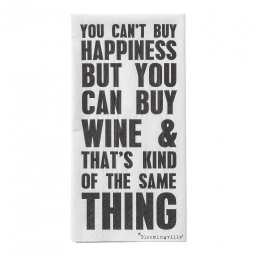 Pachet Servetele You can't buy Happiness Negru/Alb, l40xL40 cm, 16 buc/pachet