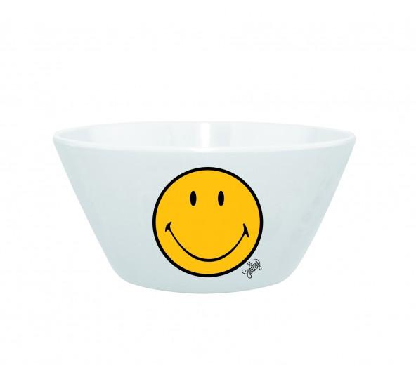 Mini Bol pentru cereale Smiley Galben/Alb, Ø15 cm